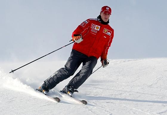 Michael Schumacher 2004. január 15-én az olasz Madonna di Campiglio egyik pályáján (Fotó: AFP)